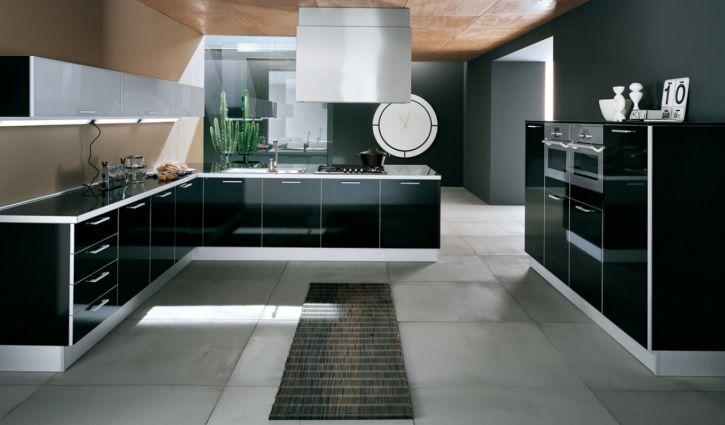 Cuisine contemporaine for Element de cuisine noir brillant